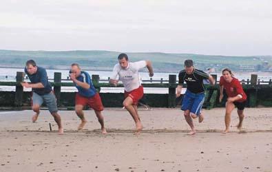 Sprint training on the beach