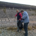 Chris and Shona assisting the beach clean-up